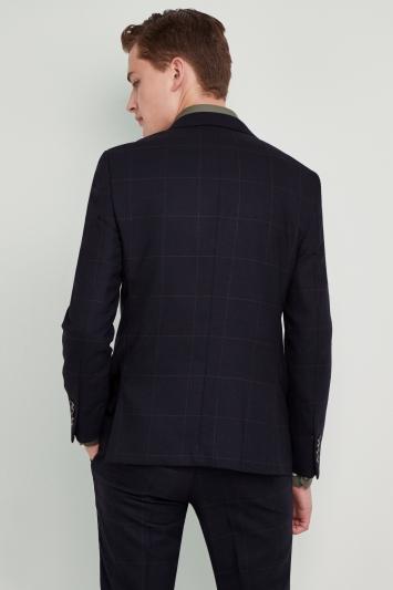 Moss London Premium Skinny Fit Navy Olive Windowpane Jacket