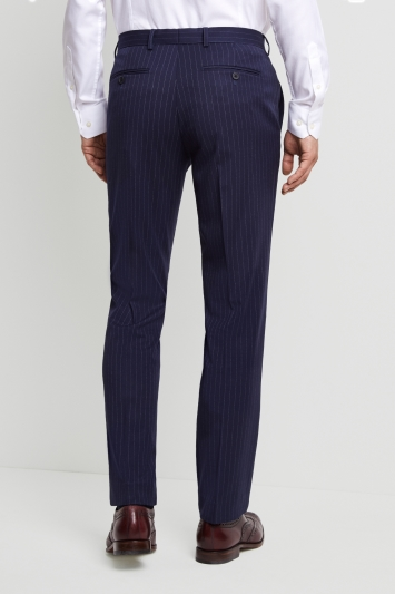 Moss 1851 Tailored Fit Navy Stripe Trousers