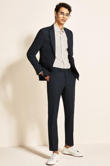 Moss London Slim Fit Blue Donegal Jacket