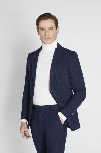 Moss London Slim Fit Blue Donegal Jacket