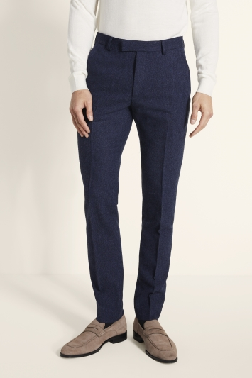Moss London Slim Fit Blue Donegal Trousers