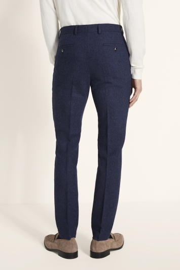 Moss London Skinny/Slim Fit Blue Donegal Trousers