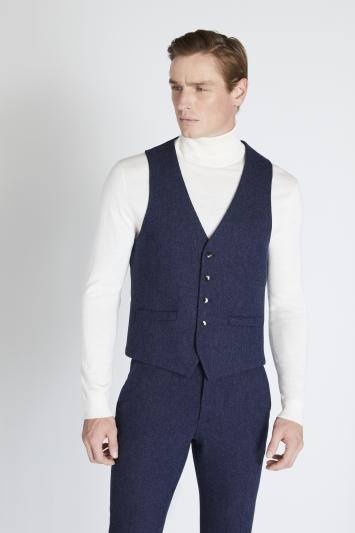 Moss London Slim Fit Blue Donegal Waistcoat