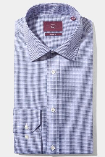 Moss Esq. Regular Fit Blue Single Cuff Dobby Non Iron Shirt