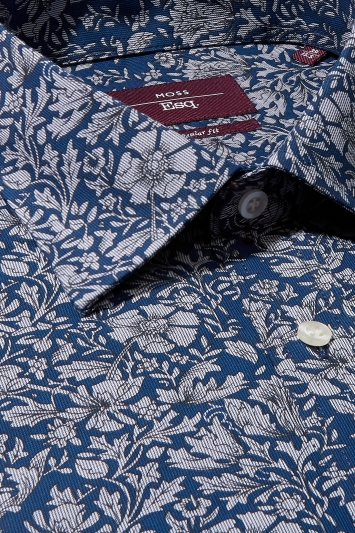 Moss Esq. Regular Fit Navy Single Cuff Floral Stripe Shirt