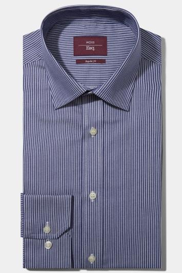 Moss Esq. Regular Fit Navy Single Cuff Twill Stripe Non Iron Shirt