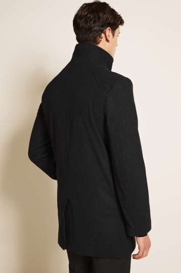 Moss 1851 Tailored Fit Charcoal Grey Funnel Neck Coat