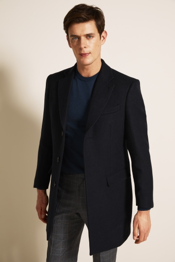 Moss 1851 Tailored Fit Navy Double Face with Check Overcoat