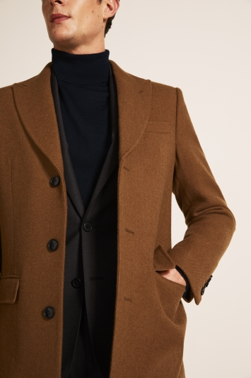 Moss 1851 Tailored Fit Camel Double Face with Grey Overcoat