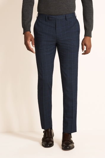Moss 1851 Tailored Fit Machine Washable Blue Boucle WindowpaneTrousers with Stretch