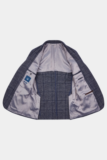 Moss 1851 Tailored Fit Blue Scratch Check Jacket