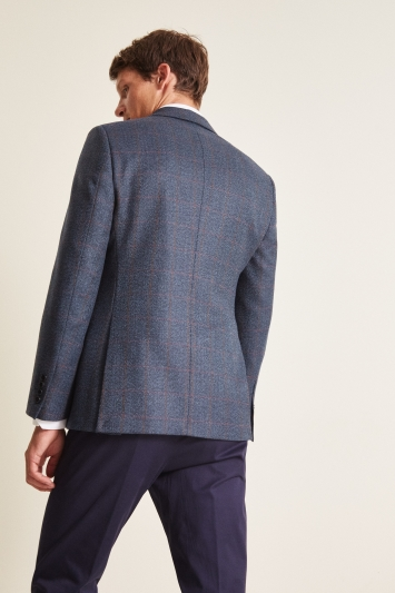 Moss 1851 Tailored Fit Blue Herringbone Windowpane Jacket