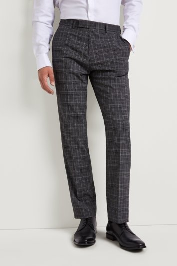 Moss Esq. Regular Fit Machine Washable Grey with White Glen Check Trousers