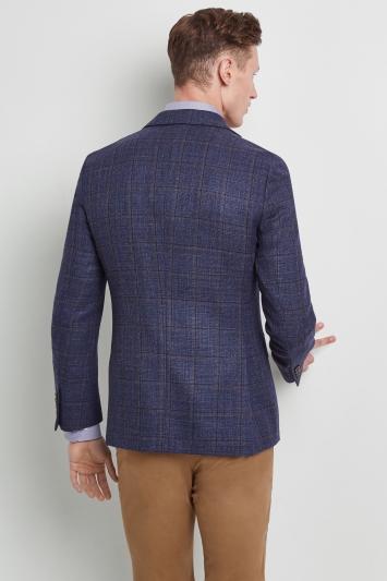 Moss 1851 Tailored Fit Blue Textured Windowpane Jacket