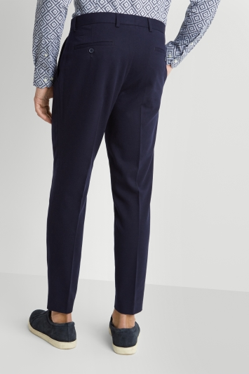 Moss London Skinny Fit Navy Flannel Single Pleat Front Cropped Trousers with Stretch