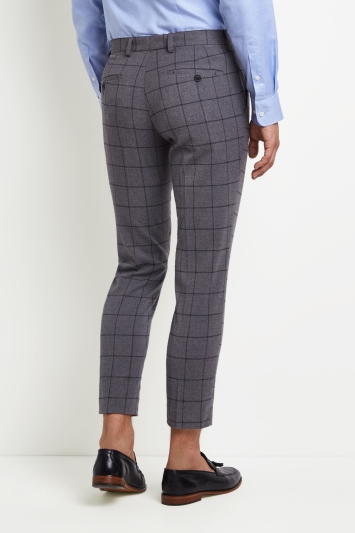 Moss London Skinny Fit Grey Bold Brushed Windowpane Cropped Trousers