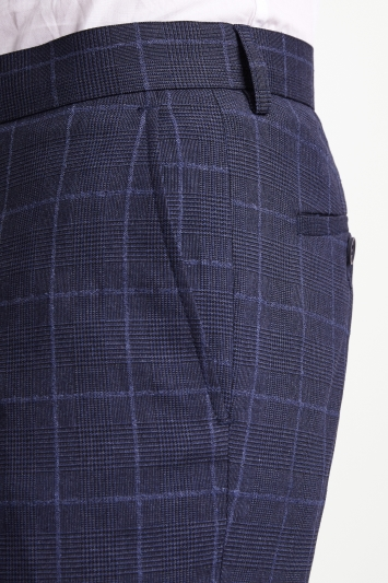 Moss London Slim Fit Blue Boucle Windowpane Trousers with Stretch