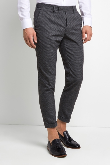 Moss London Skinny Fit Puppytooth Brushed Cropped Trousers with Stretch