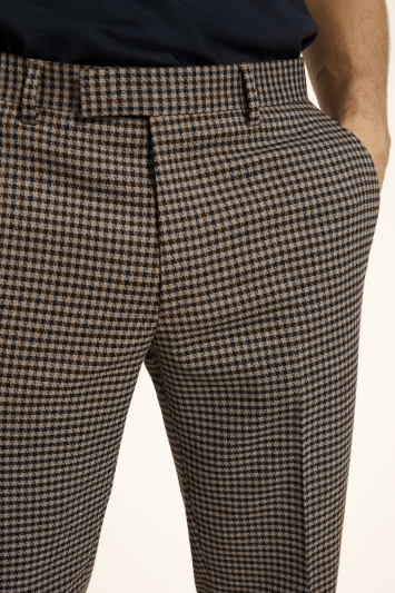 Moss London Skinny Fit Brown Blue Dogtooth Cropped Trousers with Stretch