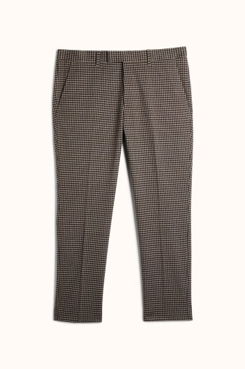 Slim Fit Brown Blue Dogtooth Trousers
