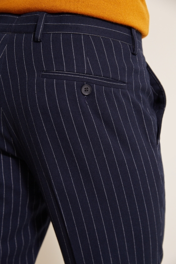 Moss London Slim Fit Navy Brushed Chalk Stripe Cropped Trousers with Stretch
