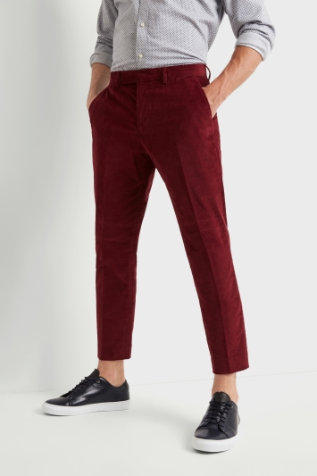 Moss London Skinny Fit Tapered Leg Red Corduroy Cropped Trousers