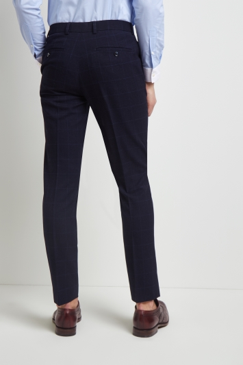 Moss London Skinny Fit Blue Windowpane Trousers