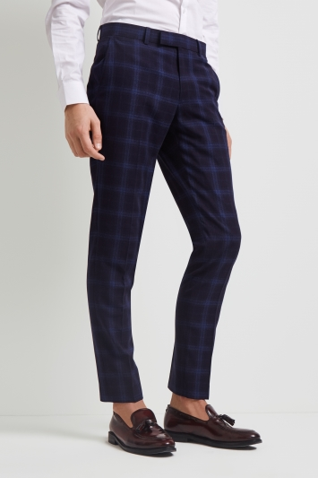 Moss London Skinny Fit Blue Shadow Check Trousers