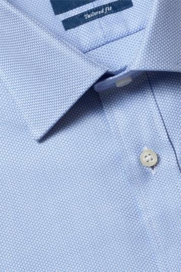 Moss 1851 Tailored Fit Sky Single Cuff Egyptian Cotton Textured Shirt