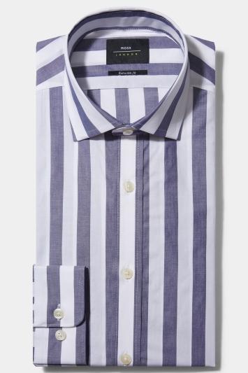 Moss London Premium Extra Slim Fit Blue Single Cuff Wide Stripe Shirt