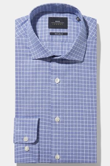 Moss London Premium Extra Slim Fit Single Cuff Blue Boucle Check Sh...