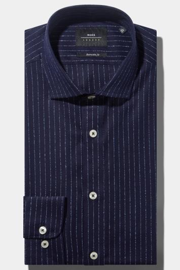Moss London Premium Extra Slim Fit Single Cuff Navy Boucle Stripe Shirt in Italian Fabric