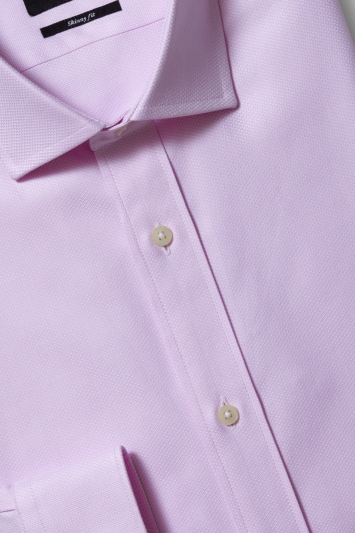Moss London Premium Skinny Fit Single Cuff Pink Egyptian Cotton Textured Shirt