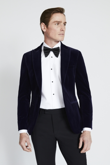 Moss London Skinny Fit Blue Velvet Dress Jacket