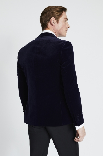 Moss London Slim Fit Blue Velvet Dress Jacket