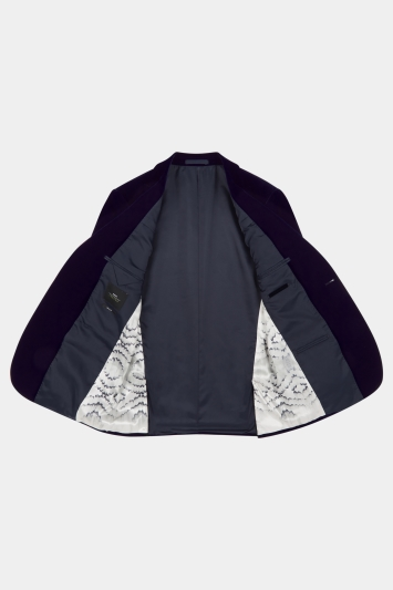 Moss London Skinny Fit Blue Velvet Dress Jacket