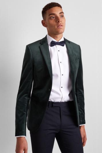 Moss London Skinny Fit Bottle Green Velvet Dress Jacket