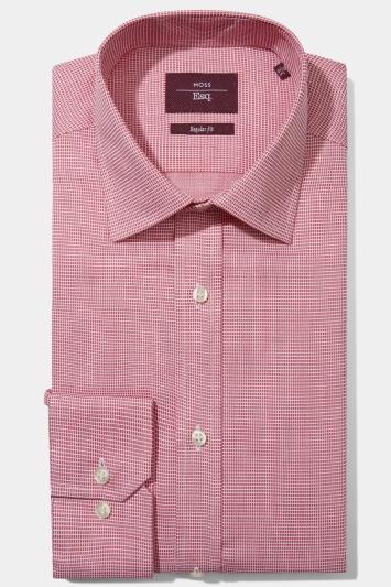 Moss Esq. Regular Fit Pink Single Cuff Square Dobby Non Iron Shirt