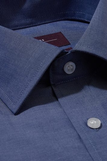 Moss Esq. Regular Fit Navy Single Cuff Oxford Non Iron Shirt