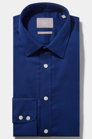 Savoy Taylors Guild Regular Fit Cobalt Single Cuff Basketweave Shirt