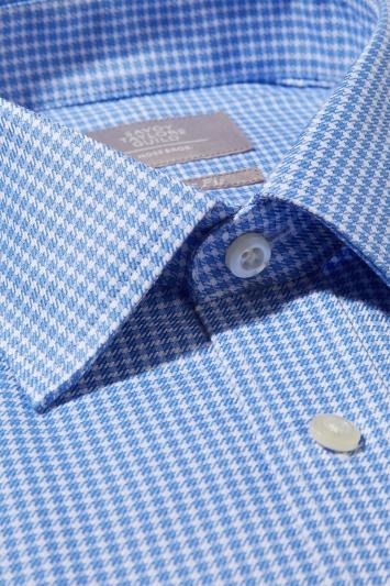 Savoy Taylors Guild Regular Fit Sky Single Cuff Puppytooth Shirt