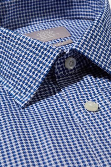 Savoy Taylors Guild Regular Fit Navy Single Cuff Puppytooth Shirt