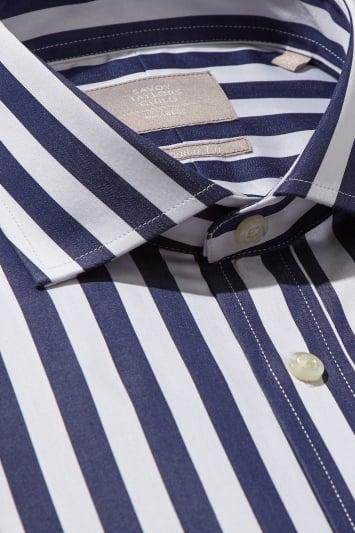 Savoy Taylors Guild Regular Fit Navy Single Cuff Bengal Stripe Shirt