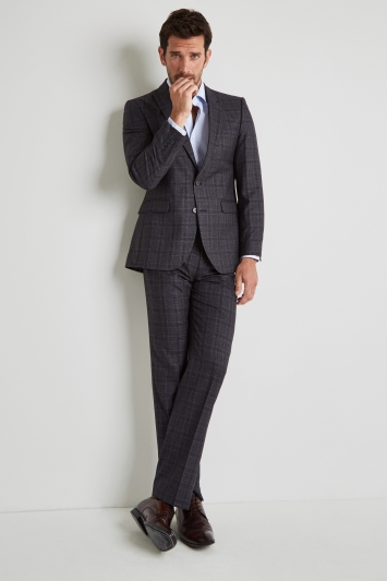 Moss Esq. Regular Fit Grey with Blue Check Jacket
