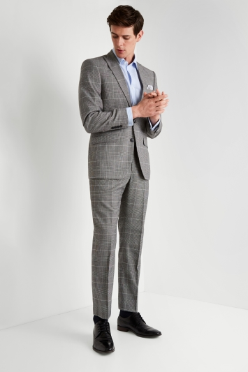 Moss Esq. Regular Fit Black and White Check Jacket