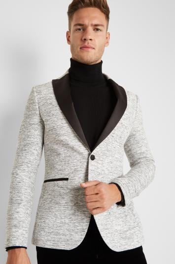 Moss London Slim Fit White Slub Jacket