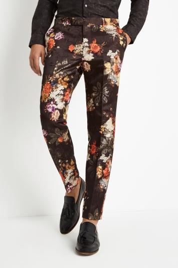 Moss London Skinny Fit Black Orange Floral Trousers