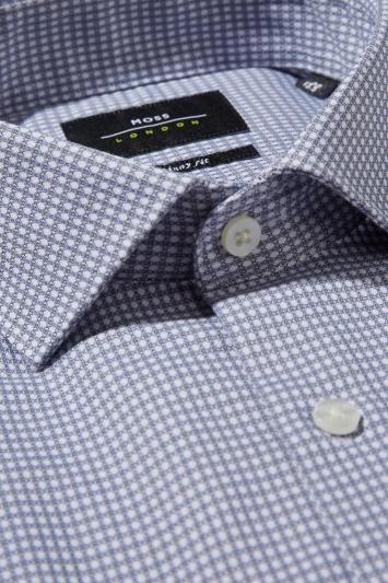 Moss London Skinny Fit Grey Single Cuff Dobby Stretch Shirt