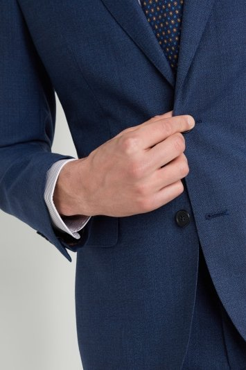 Moss 1851 Tailored Fit Bright Blue Twisted Jacket