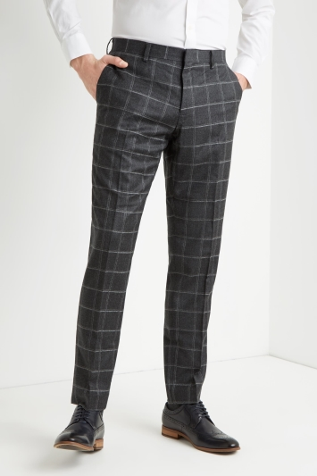 Moss 1851 Tailored Fit Grey Windowpane Trousers